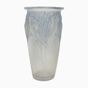 Frosted Blue Stained Ceylan Vase by René Lalique, 1924