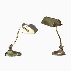 Art Nouveau Brass Desk Lamps, Set of 2