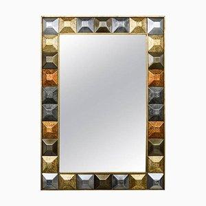 Vintage Spiegel mit Rahmen im Diamantenspitzen-Design