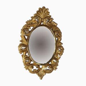 Espejo vintage de bronce dorado