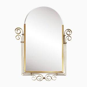 Vintage Spiegel mit abgeschrägtem Messingrahmen