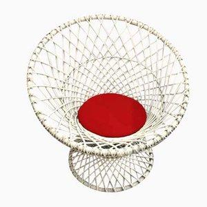 Weißer Vintage Beistellstuhl aus Korbgeflecht, 1980er