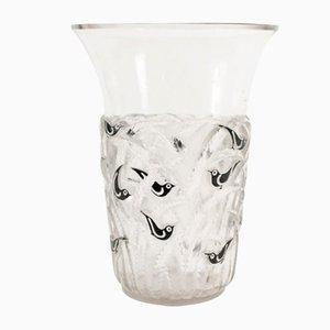 Vintage Bornéo Vase aus schwarzer Emaille von René Lalique