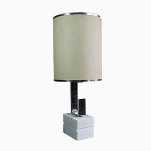 Lampada in metallo cromato e marmo, anni '70