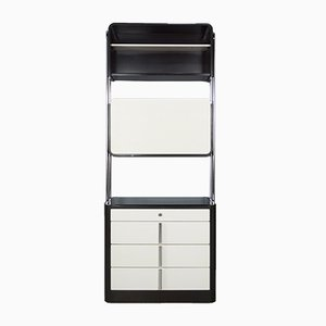 Unidad de almacenamiento vintage de resina en blanco y negro