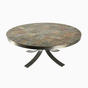 Tavolino da caffè vintage rotondo in ferro battuto e pietra
