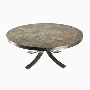 Vintage Round Coffee Table in Wrought Iron and Stone