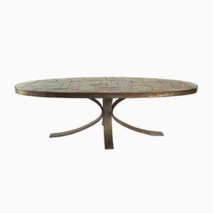 Table Basse Ovale Vintage en Fer Forgé & Pierre