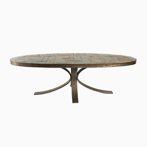 Vintage Oval Coffee Table in Wrought Iron and Stone