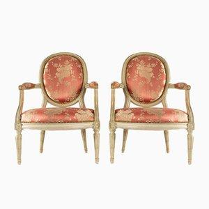 Antike Louis XVI Sessel mit Kamee-Rückenlehnen, 2er Set