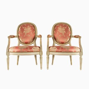 Antique Louis XVI Cameo Backed Armchairs, Set of 2