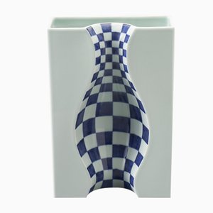Large Blue Illusion Vase in Arita Porcelain by DesignLibero for Hands On Design