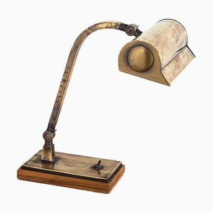 Mid-Century Spanish Brass and Wood Table Lamp, 1940s