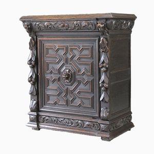 Antique Carved Oak Side Cabinet