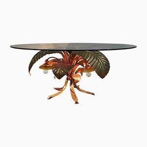 Italienischer Mid-Century Tisch mit vergoldetem Metallgestell in Palmen-Optik mit Beleuchtung