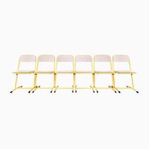 Gelbe Vintage Stühle aus Metall, 6er Set