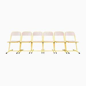 Vintage Metal Yellow Chairs, Set of 6