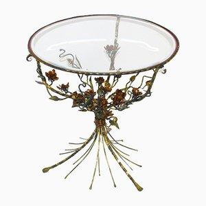 Mesa de centro bouquet floral de vidrio y metal, años 50