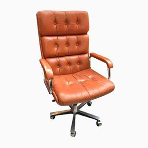 Vintage Executive Brown Leather Chair, 1970s