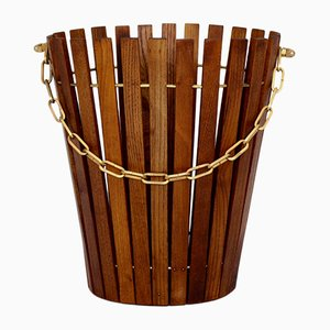 Ash Wood Paper Basket with Brass Chain, 1960s