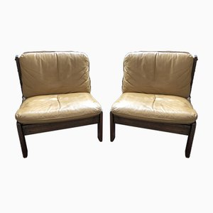 Vintage Danish Leather Lounge Chairs, Set of 2