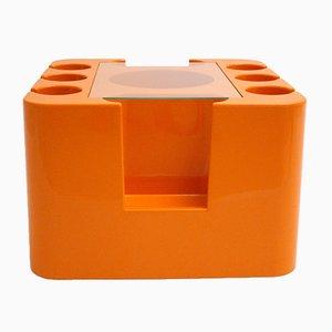 Carrito de bar Bacco de fibra de vidrio naranja de Sergio Mazza para Artemide, años 60
