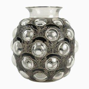 Schwarz emaillierte Vase mit Antilopenmotiven von René Lalique, 1925