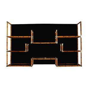 Bamboo & Chrome Bookcase with Black Plexiglas Background, 1970s