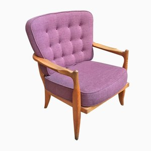 José Purple Armchair by Guillerme et Chambron for Votre Maison, 1960s