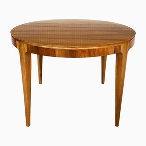 Large German Walnut Round Side Table, 1950s