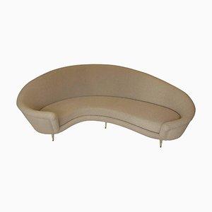 Vintage Curved Beige Sofa