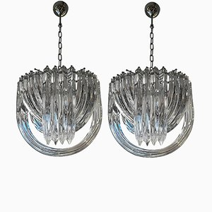 Vintage Murano Curved Crystal Chandeliers by Carlo Nason, Set of 2