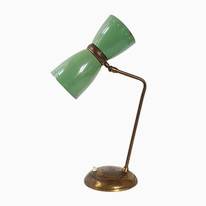 Lampada da tavolo Mid-Century in acciaio verde ed ottone, Francia, anni '50