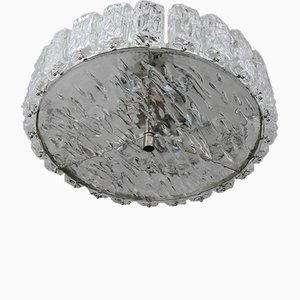 Mid-Century Frosted Murano Glass Chandelier