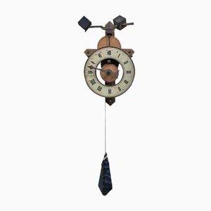 Reloj de pared suizo vintage de madera
