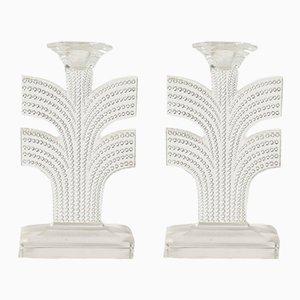 Candelabros Tokyo de Rene Lalique, años 30. Juego de 2