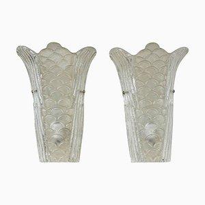 Vintage Scales Wandlampen aus Muranoglas, 2er Set
