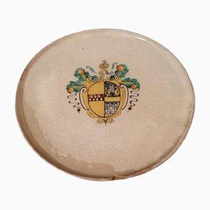 Antiker Teller-Tischaufsatz aus Majolika mit Wappen, 1680er