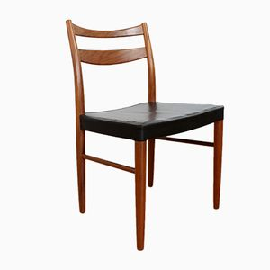 Vintage Teak and Black Vinyl Dining Chairs, Set of 4