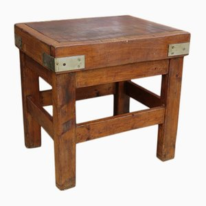 Antique English Butchers Block On Stand