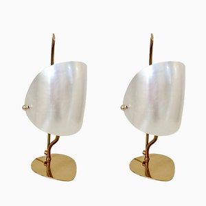 Italian Brass & Perspex Table Lamps, 1960s, Set of 2