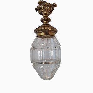 Antique French Crystal Glass Lantern