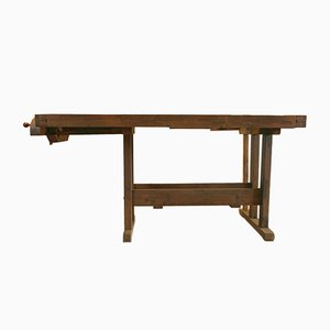 Antique Industrial Bench with Wooden Spindles
