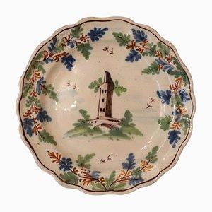 Antiker Teller aus Majolika, 1750er