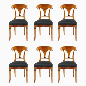 Antique Biedermeier Chairs Cherrywood, 1820s, Set of 6