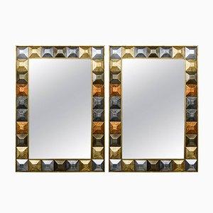 Vintage Diamond Tip Motif Mirrors, Set of 2