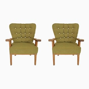 Armchairs by Guillerme et Chambron for Votre Maison, 1950s, Set of 2