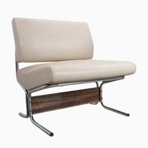 White Faux Leather Lounge Chair by Pierre Guariche for Meurop, 1966