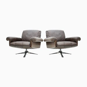 Leather Swivel DS 31 Lounge Chairs from de Sede, 1970s, Set of 2