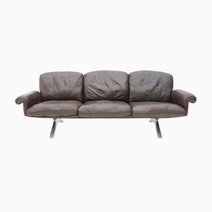 Swiss Leather DS 31 Sofa with Chrome Base from de Sede, 1970s
